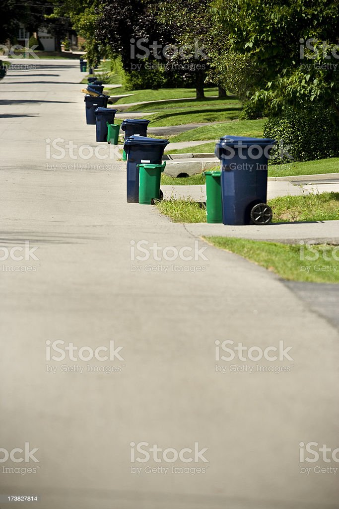 Recycle day on a residential street stock photo