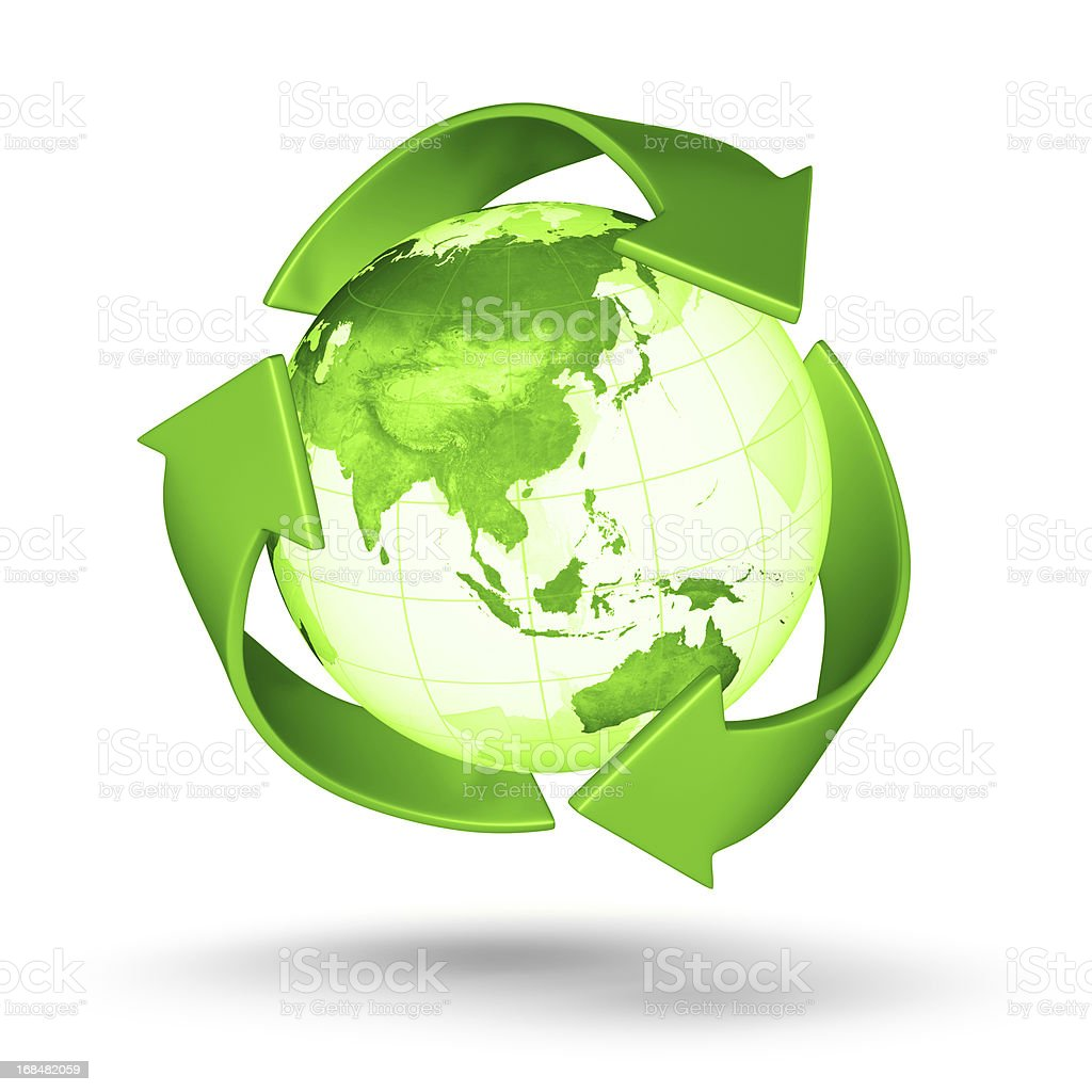 Recycle Earth - Asian Eastern Hemisphere royalty-free stock photo