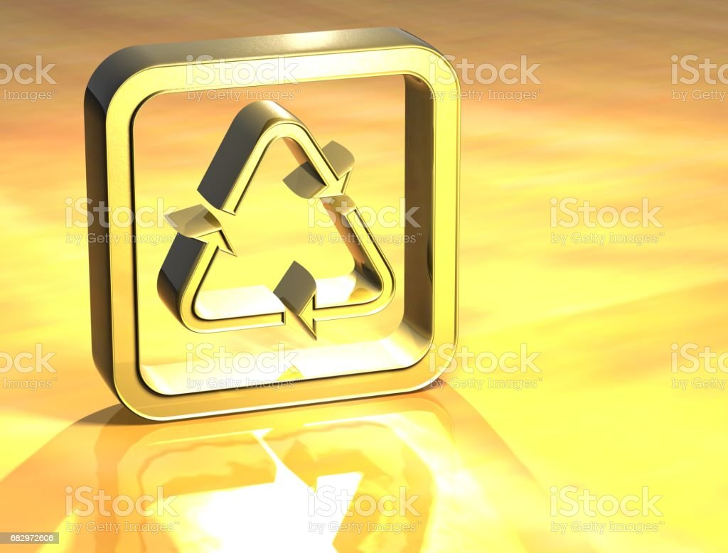 3D Recycle Gold Sign royalty-free stock photo