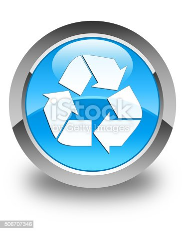 istock Recycle icon glossy cyan blue round button 506707346
