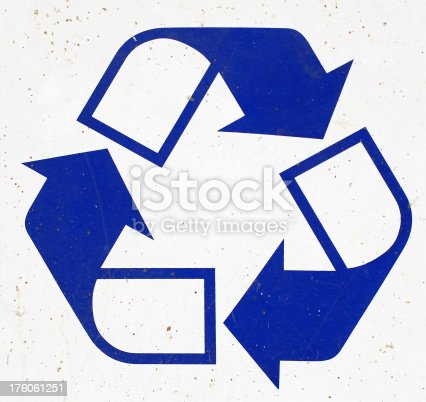 istock Recycle icon on a dirty surface 176061251