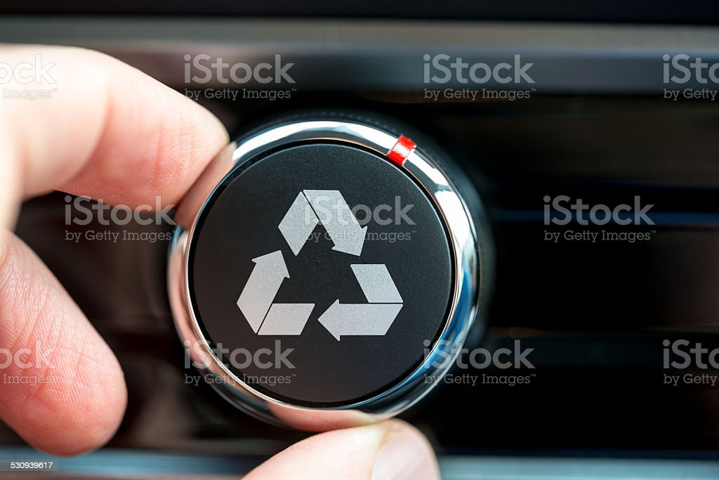 Recycle icon on a piece of electronic equipment stock photo