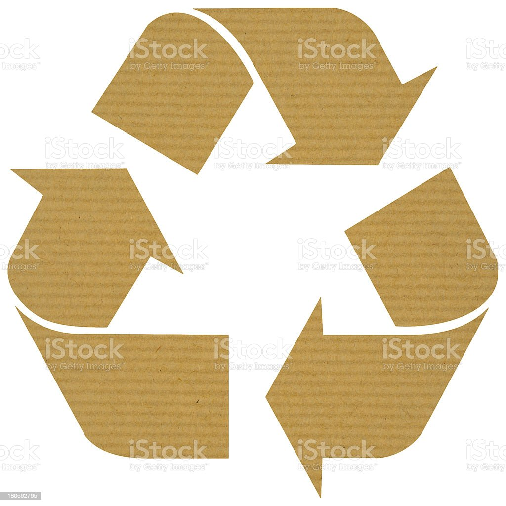 Recycle logo with reused paper royalty-free stock photo