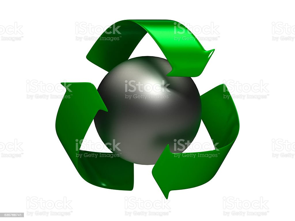 Recycle Logo with Silver Sphere stock photo