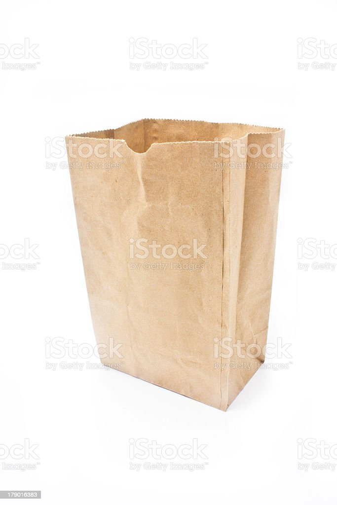 Recycle paper bag isolated on white background. stock photo