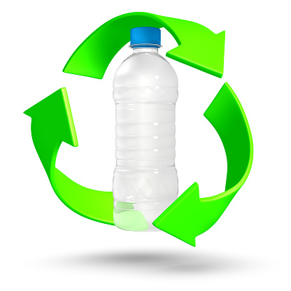 A 3D Rendering of a plastic water bottle surrounded by the recycle symbol.