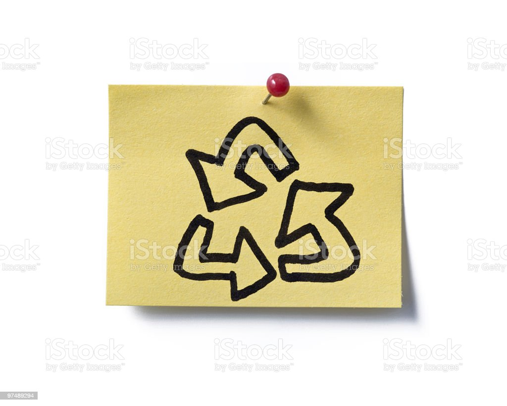 recycle! post-it. royalty-free stock photo