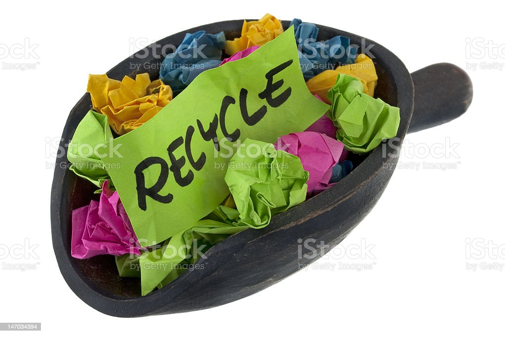 recycle - scoop od colorful crumbled paper royalty-free stock photo