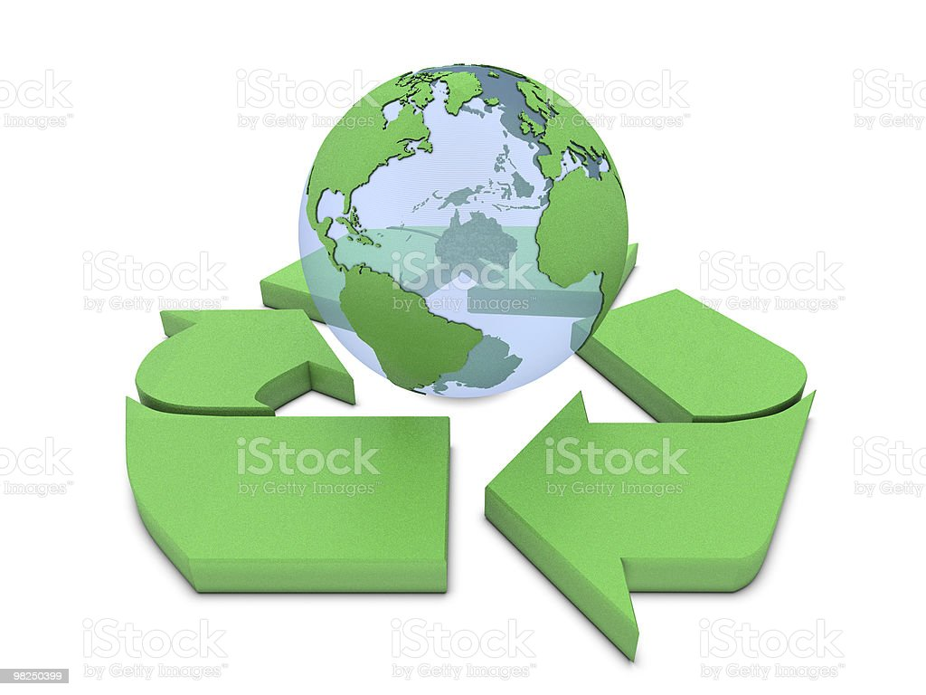 Recycle sign and Earth royalty-free stock photo