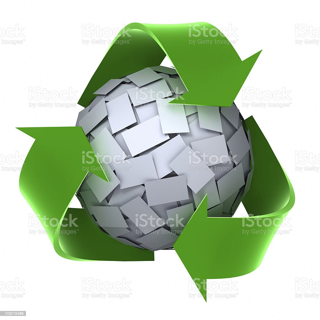 Recycle Sign and paper ball royalty-free stock photo
