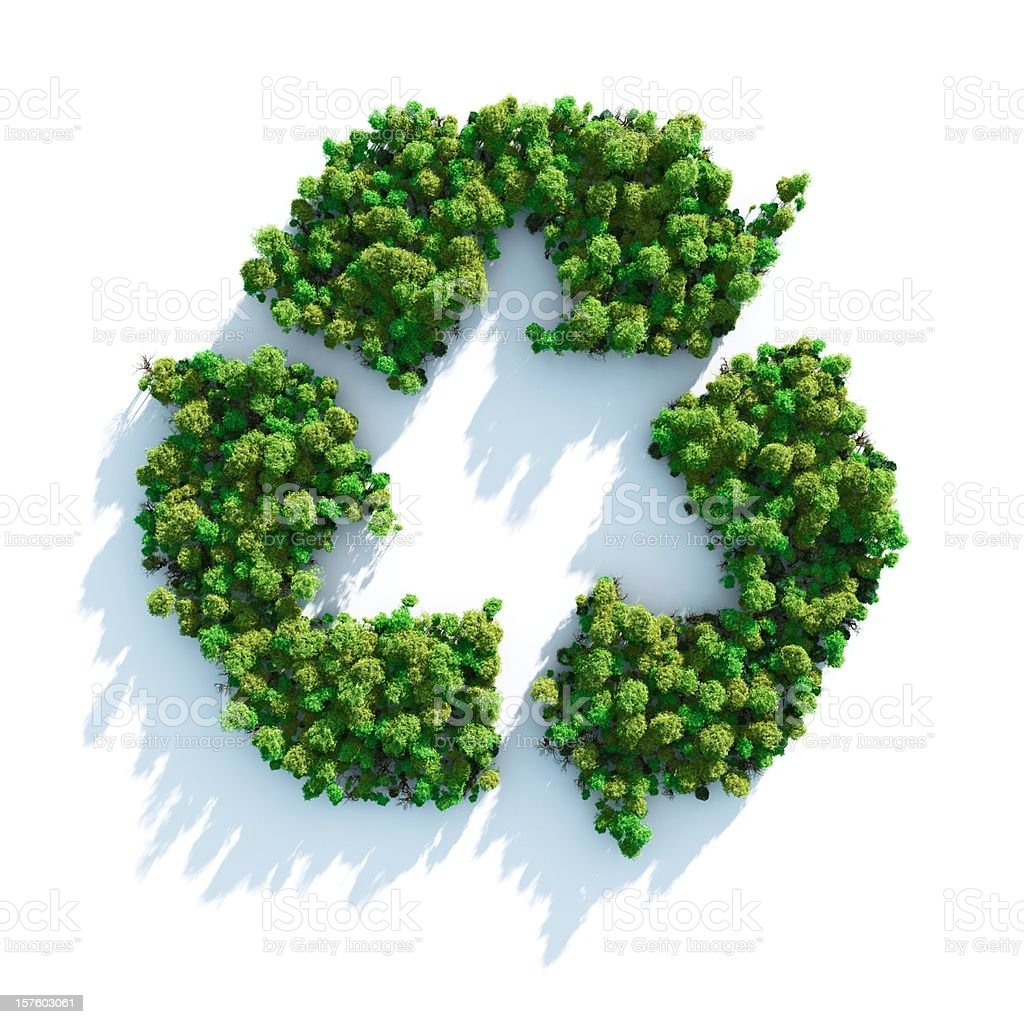 Recycle sign made of green trees stock photo