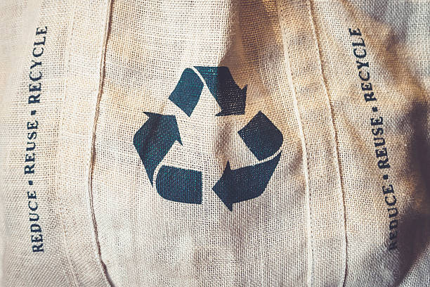 Recycle sign Symbol on Shopping bag Environmental friendly stock photo