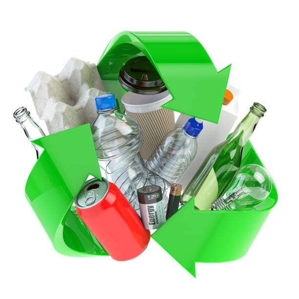 Recycle sign with different types of waste.  Garbage and  trash sorted by plastic, e-waste, metal, glass and paper. Ecology and green energy concept. stock photo