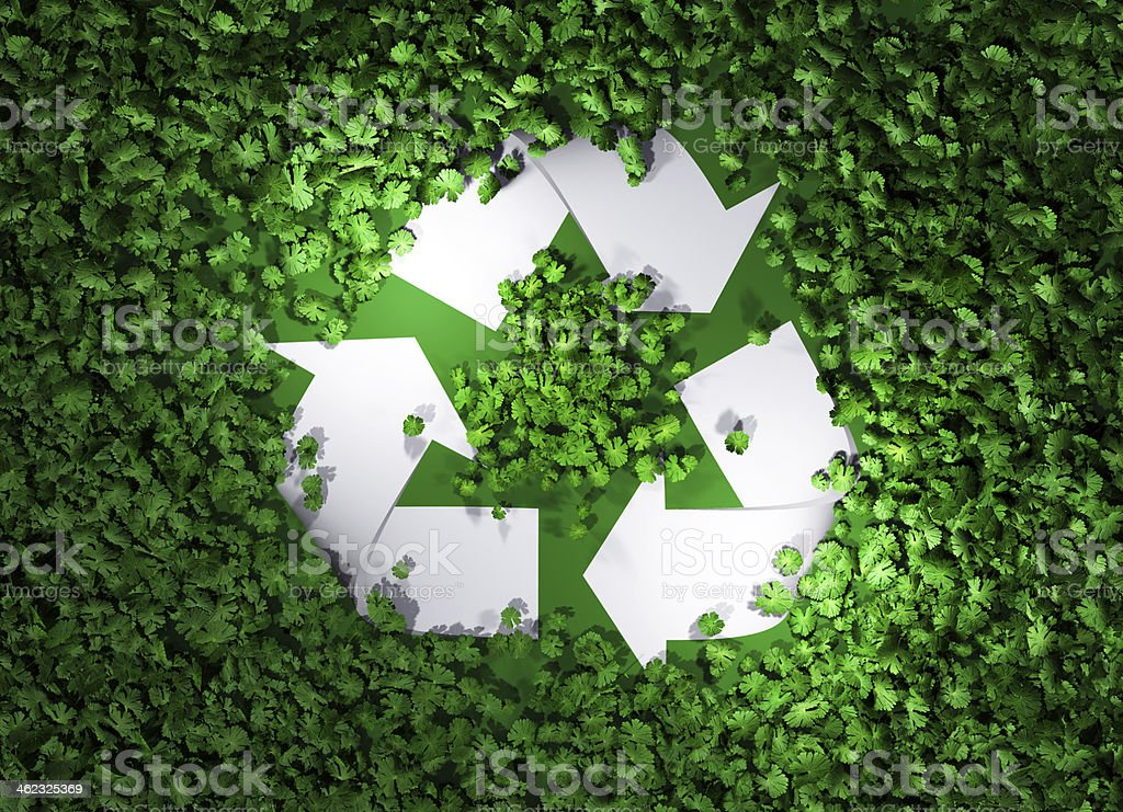 recycle symbol among the grass stock photo