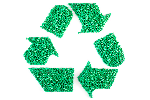 Green Plastic Resin Pellets,Recycle, Clipping Path,Masterbatch, Polymer,Isolated on White