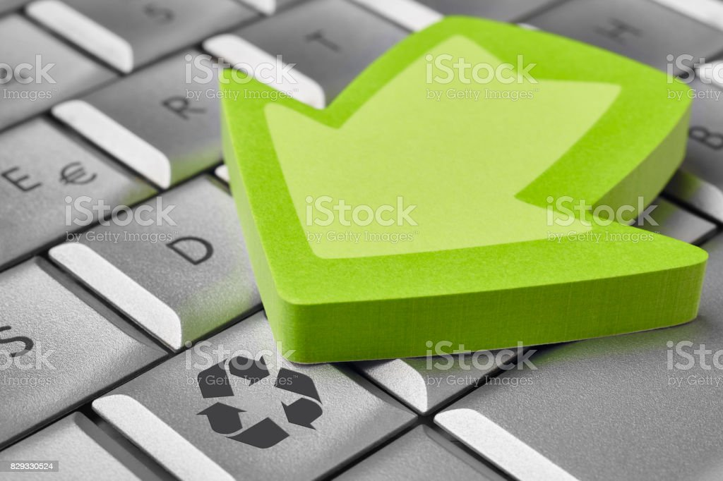 Recycle Symbol On A Computer Keyboard Sustainable Planet Ecology