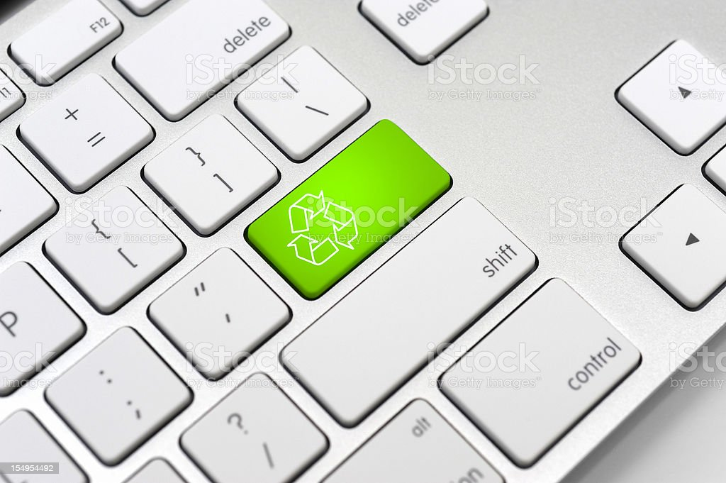Recycle symbol on a Computer keyboard-Environment Protection Concept royalty-free stock photo