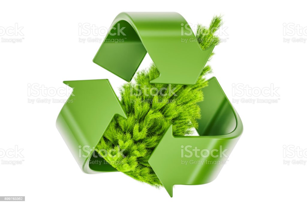 Recycle symbol with Christmas Tree. Recycle Christmas Tree concept, 3D rendering stock photo