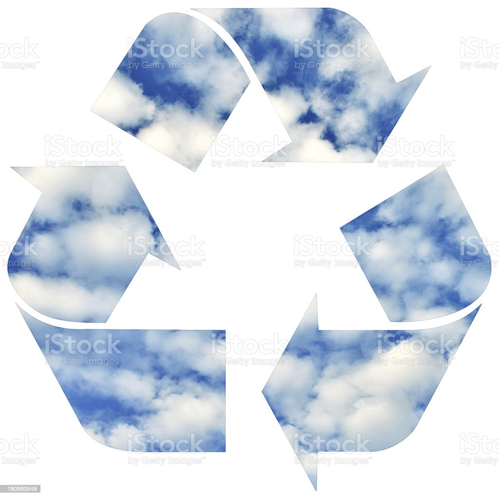 Recycle symbol with sky and clouds royalty-free stock photo