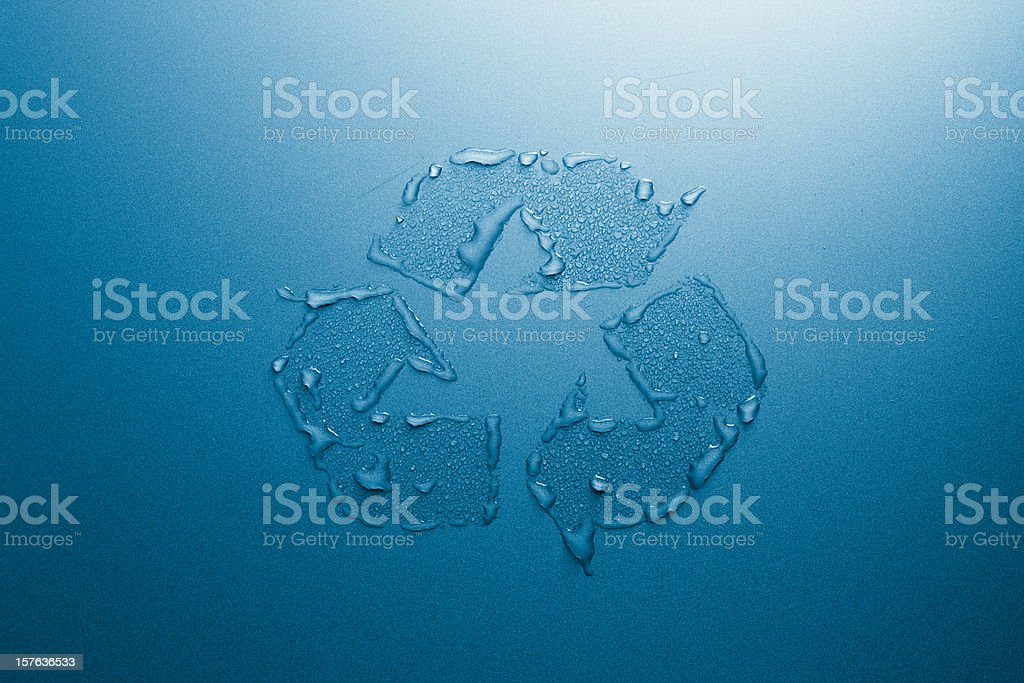 Recycle Symbol With Water Drops On Aluminium Stock Photo More