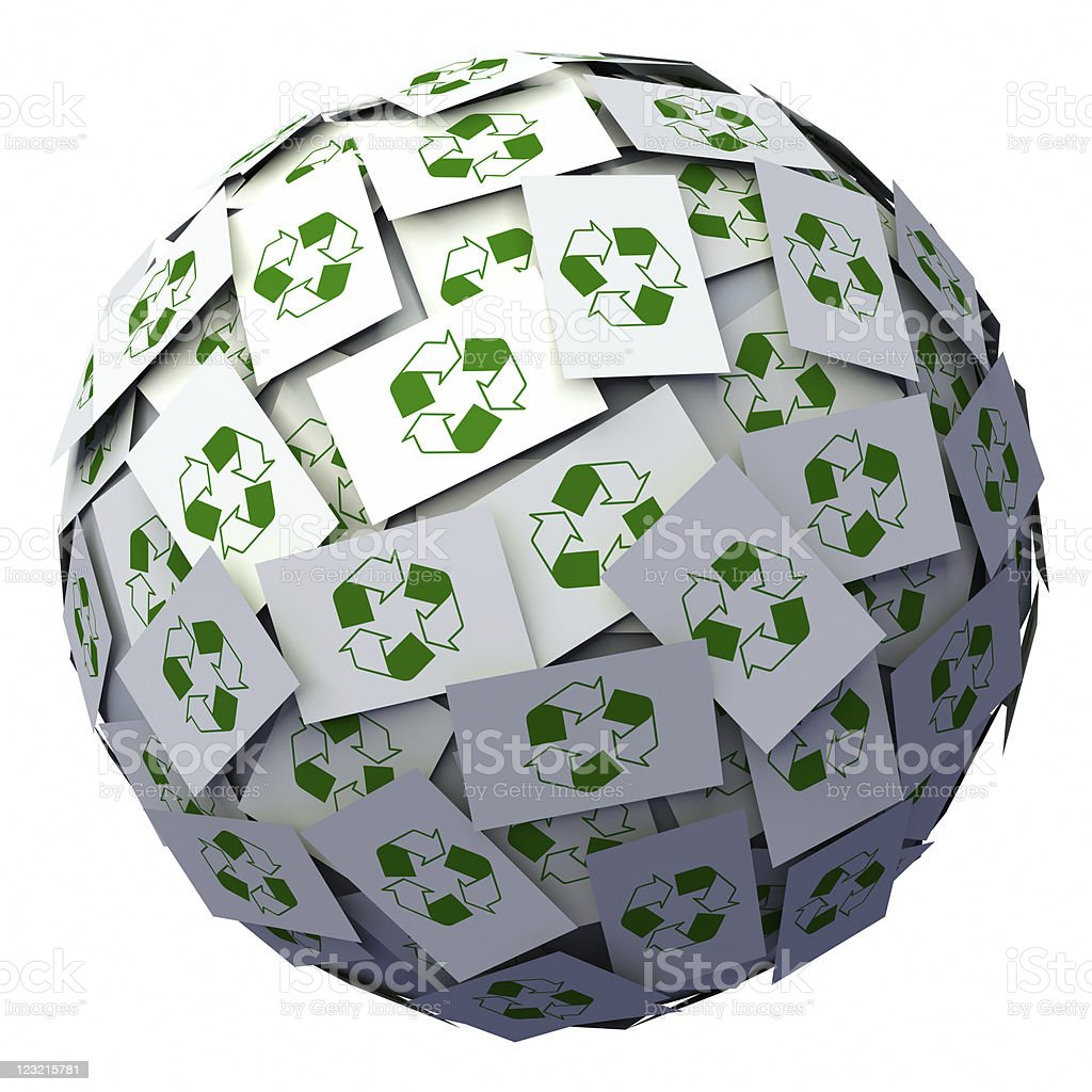 Recycle symbols ball royalty-free stock photo