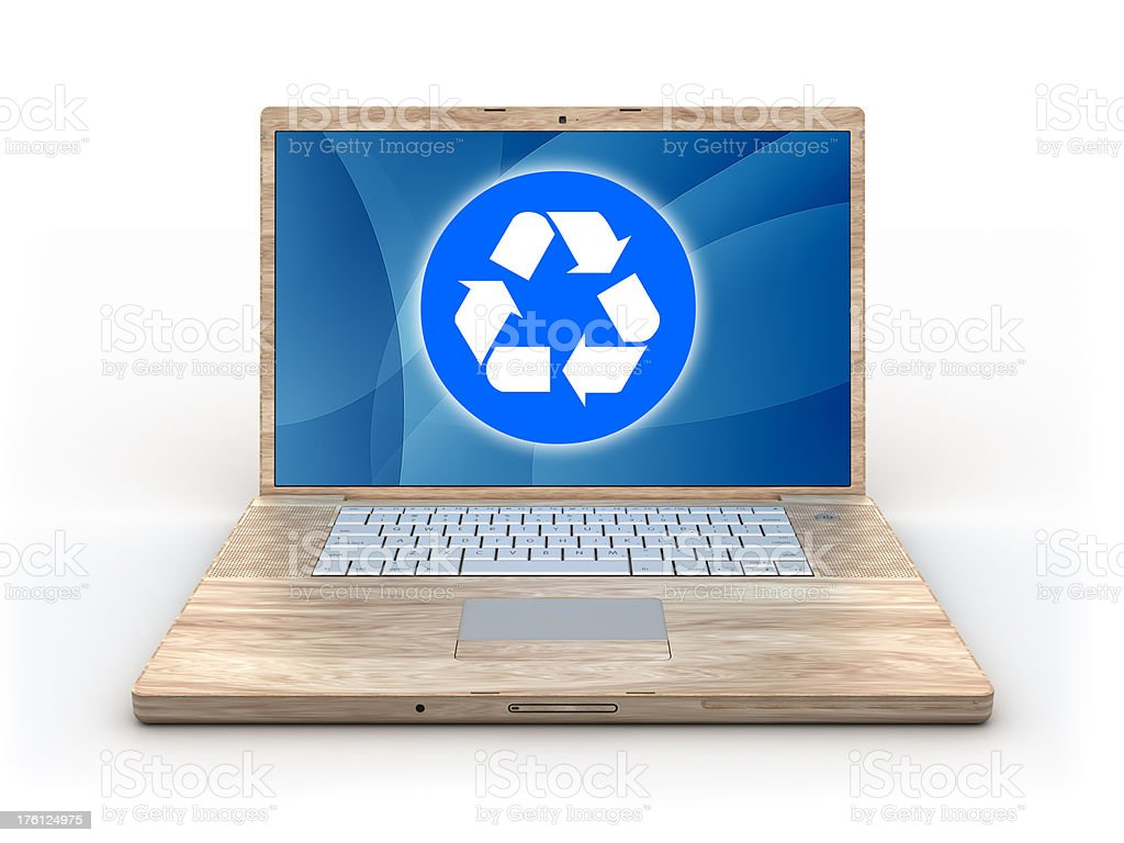 Recycleable wooden computer - isolated on white with clipping path royalty-free stock photo
