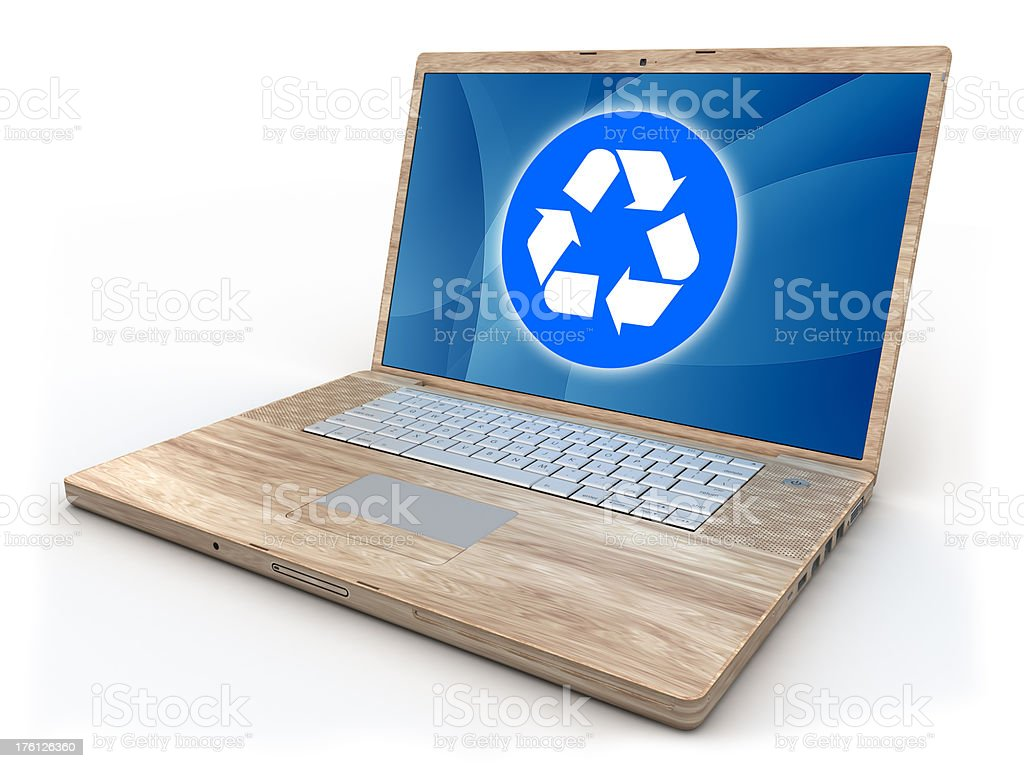 Recycleable wooden computer - isolated on white with clipping path stock photo