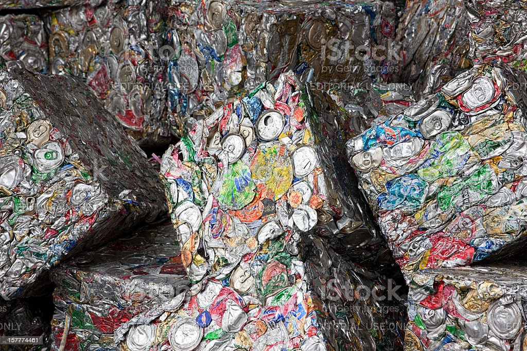 Recycled aluminum soda and beer cans. stock photo