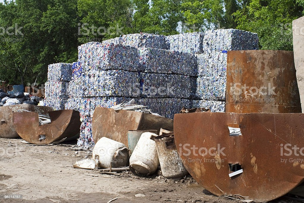 Recycled Cans In A Recycling Center royalty-free stock photo