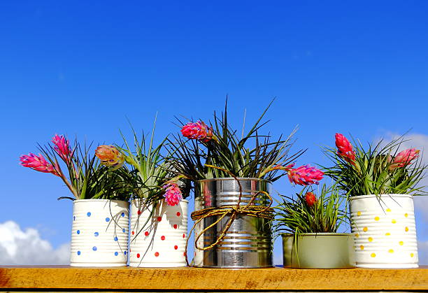 recycled cans. - zinn farbe stock-fotos und bilder