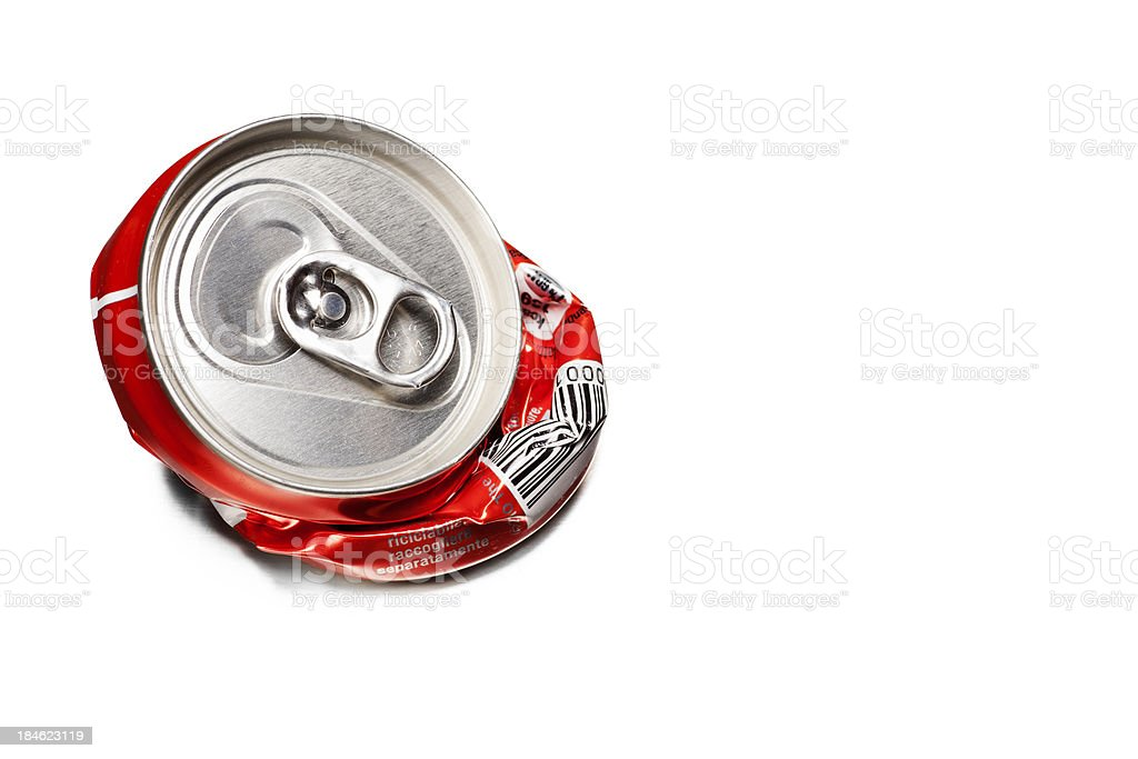 Recycled Concept - Empty Tin on White Background, with Copyspace stock photo