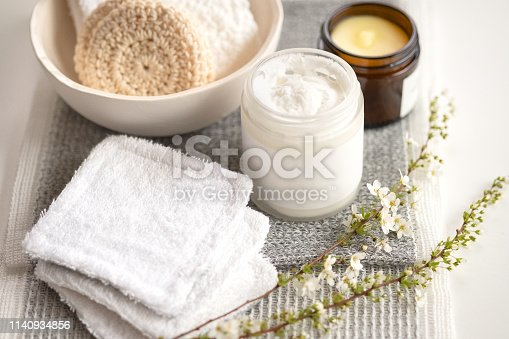 Handmade, reusable makeup remover pads made from recycled towels and yarn scraps, charcoal infused towel, natural eye makeup remover balm and body butter.