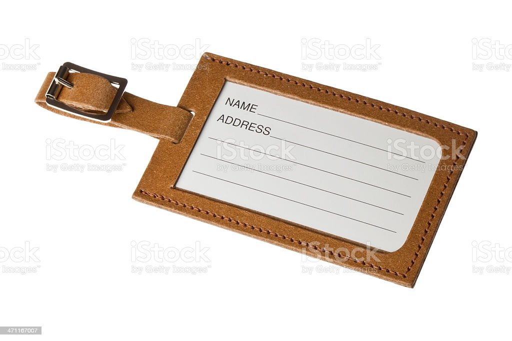 Recycled Leather Luggage Tag stock photo