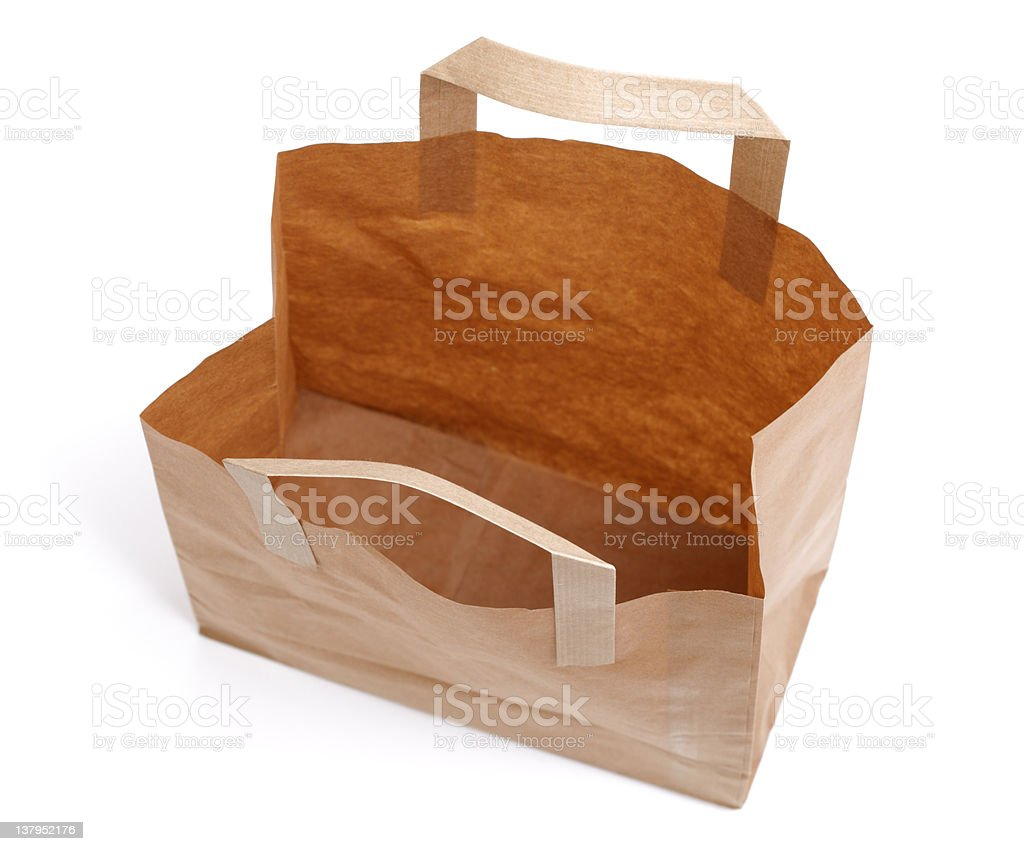 Recycled paper bag from above royalty-free stock photo