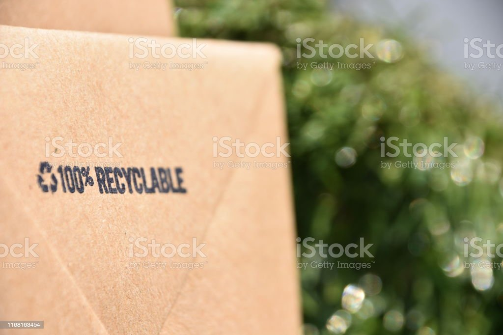 Recycled paper bag Recycled paper bag Blank Stock Photo