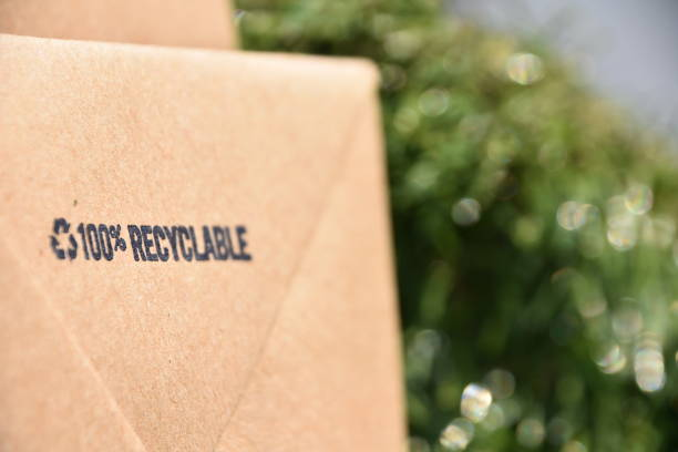 Recycled paper bag stock photo
