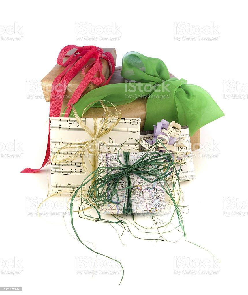 Recycled paper gift wraps royalty-free stock photo