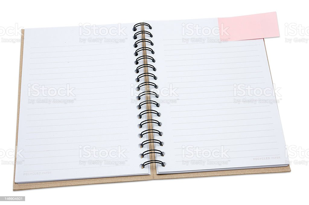 Recycled paper notebook cover open with pink reminder royalty-free stock photo