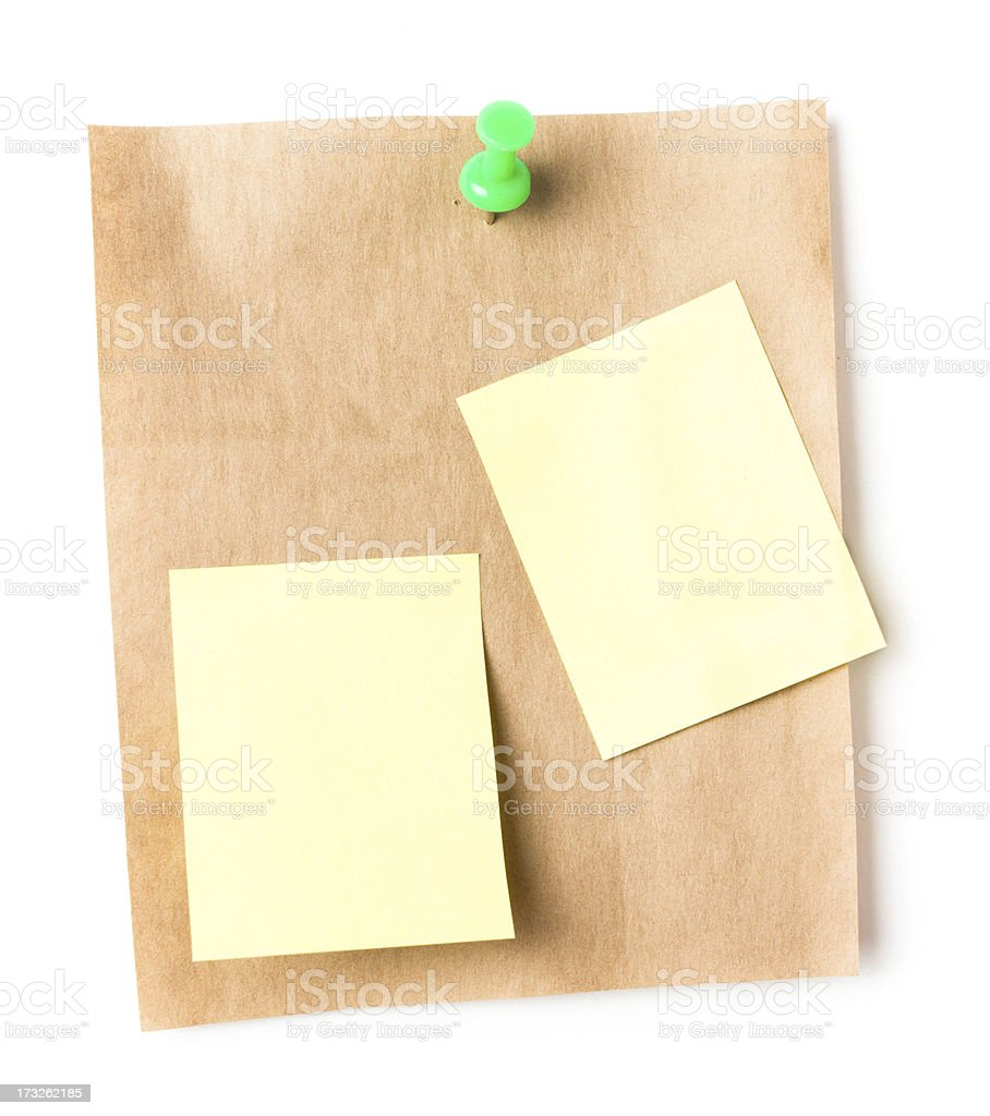 Recycled paper sticky note With Push Pin and royalty-free stock photo
