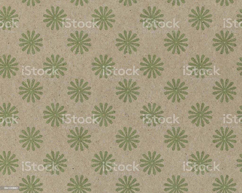 recycled paper with green flower pattern royalty-free stock photo