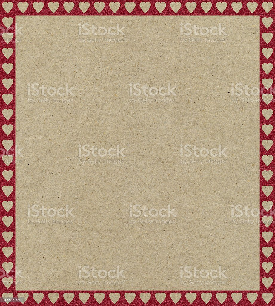 recycled paper with red heart border royalty-free stock photo