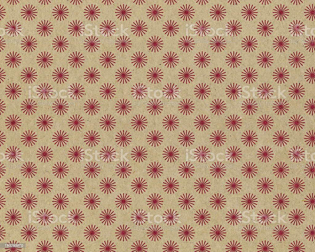 recycled paper with red star pattern stock photo