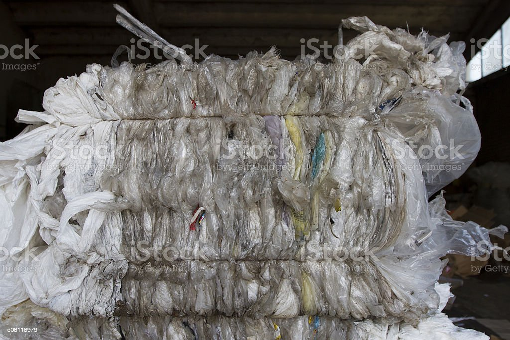 Recycled plastic bags stock photo