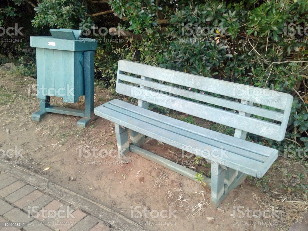 Recycled Plastic Used To Manufacture New Park Bench And Waste Bin Stock Photo Download Image Now Istock
