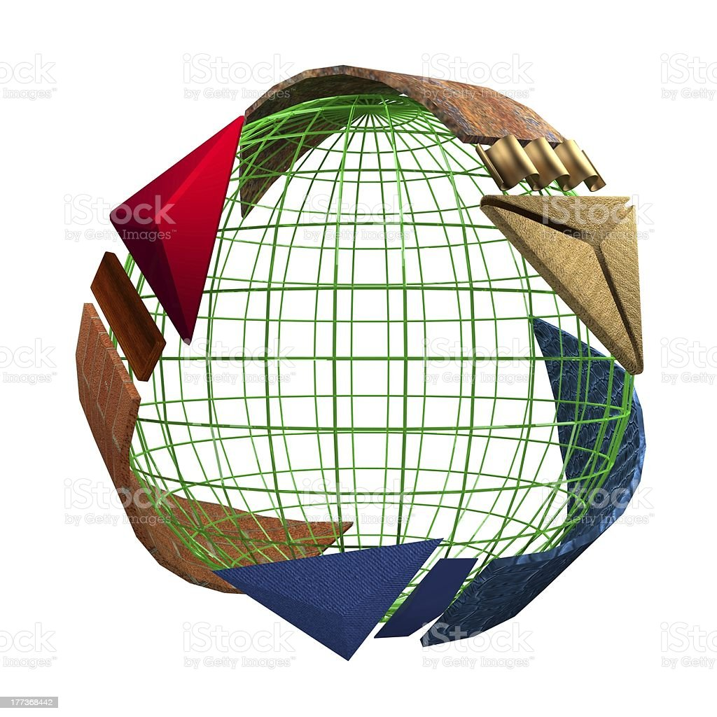 Recycled Symbol with Human-Made Materials Arrow Revolving a Green Earth stock photo