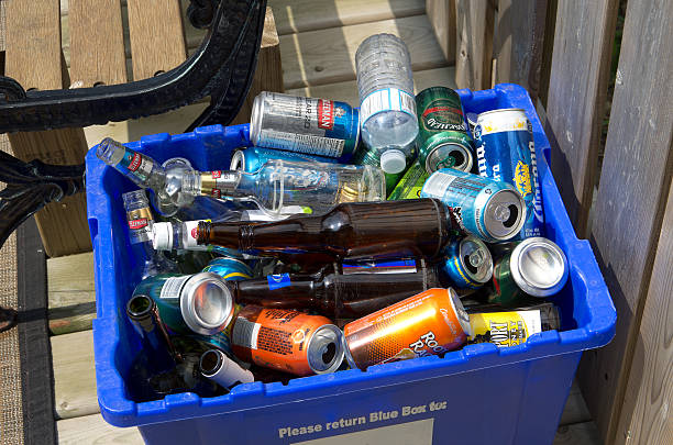 Recycling after the party. stock photo