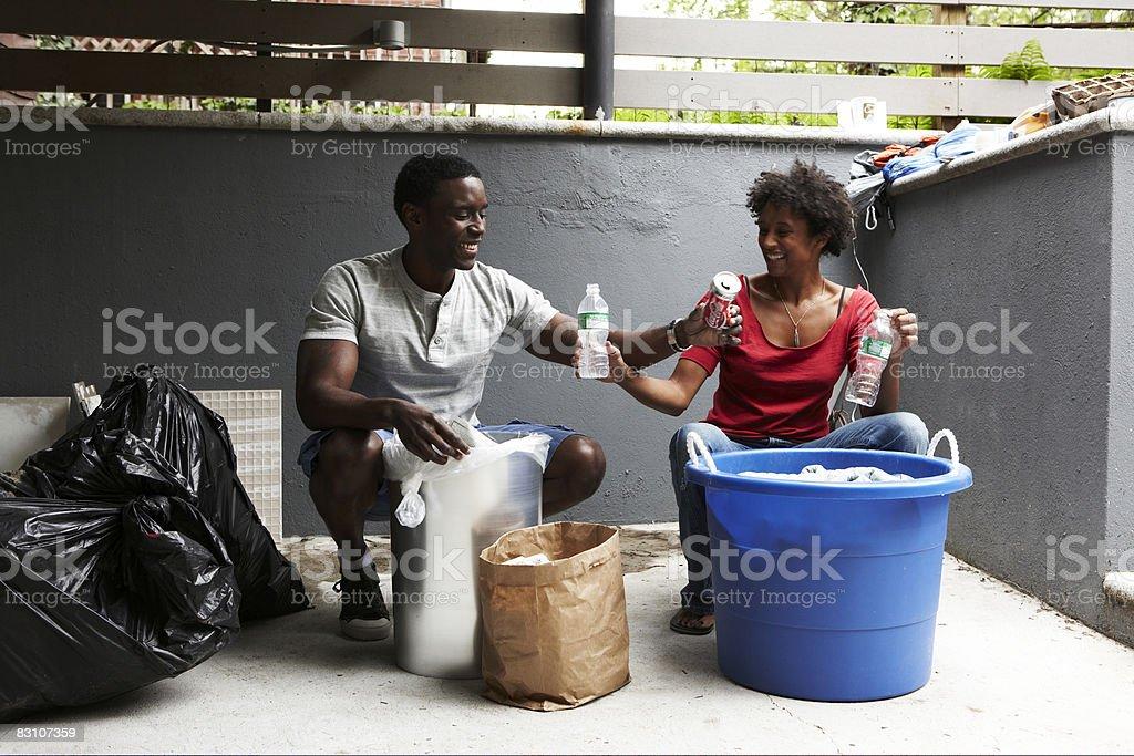 Recycling at urban home royalty free stockfoto