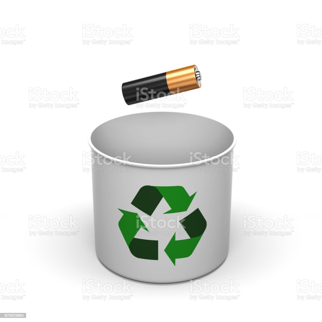Recycling Battery Concept Isolated. Battery Falling into White Recycle Box. stock photo