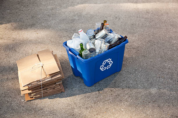 recycling bin and cardboard - recycling bin stock photos and pictures