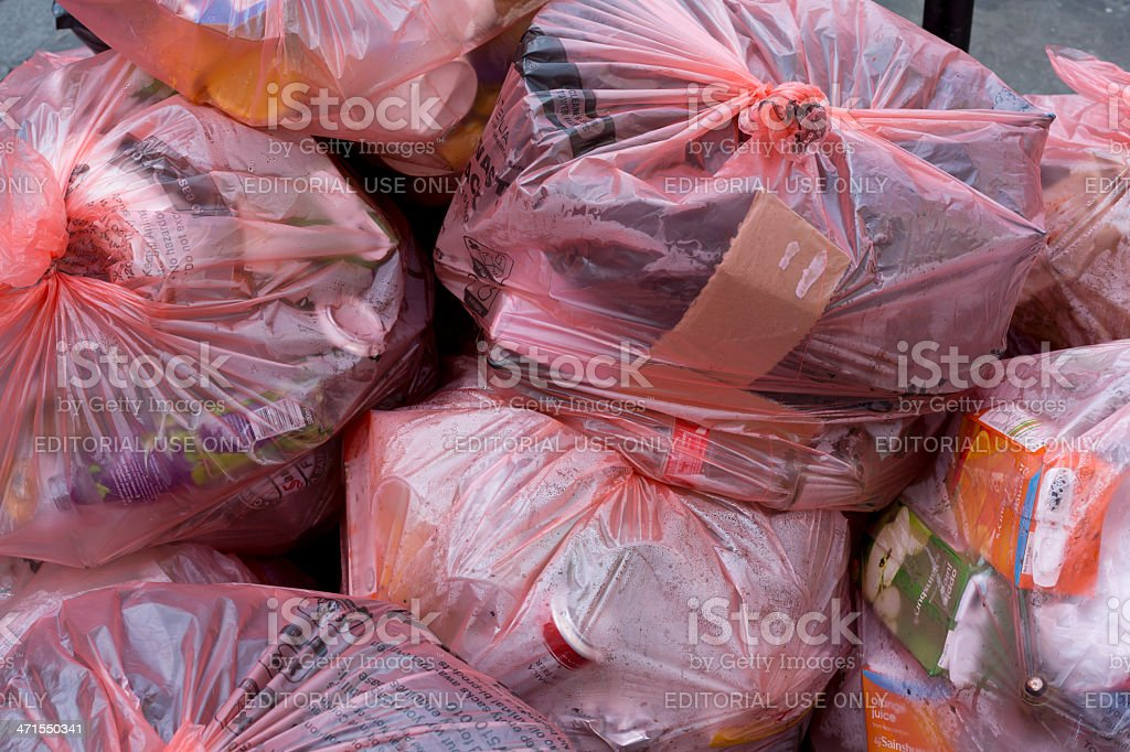 Recycling bin bags royalty-free stock photo